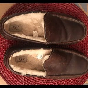 Ugg Men's Brown Leather Driving Shoe Slipper sz 8